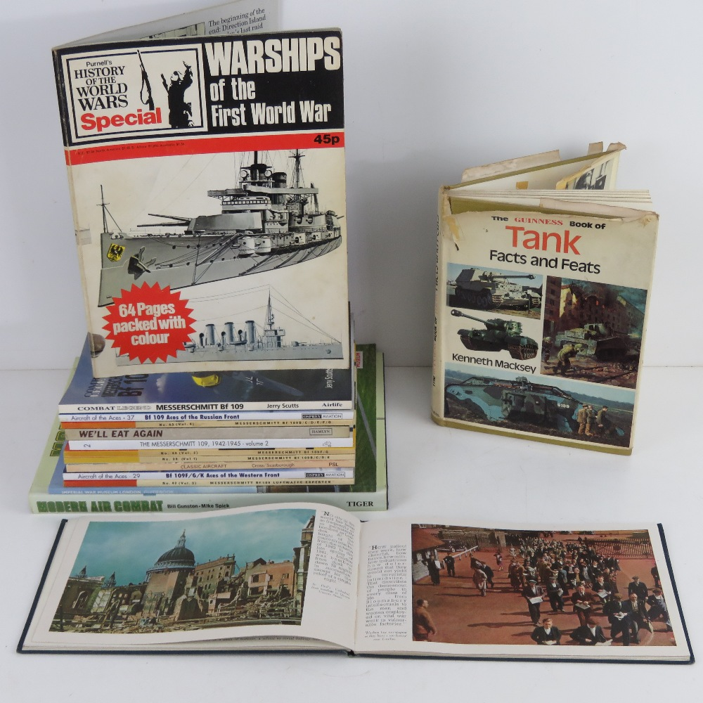 A quantity of assorted military themed books inc: 'Messerschitt bf109', 'We'll Eat Again',