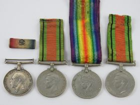 Two WWII medal pairs, each being War & Defence medals, one war medal engraved for 029373 PTE.R.