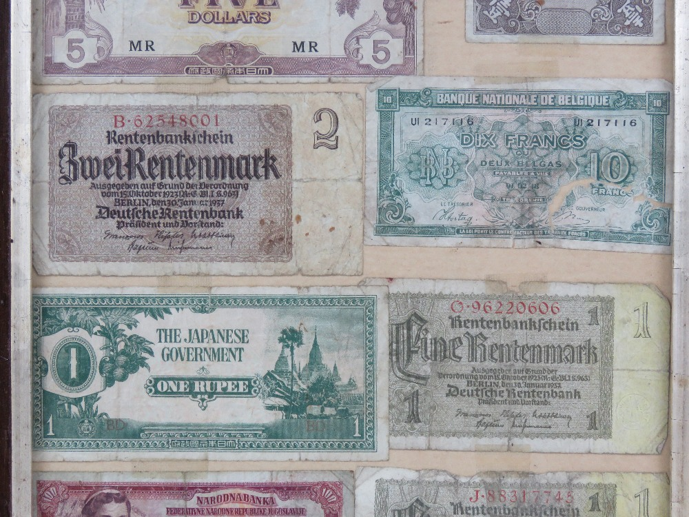 A framed montage of cWWII bank notes inc Chinese, Belgian, Japanese, German etc, - Image 3 of 4