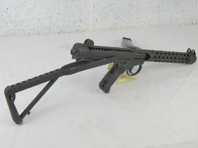 A deactivated Sterling L2A3 9mm sub machine gun having moving rear bolt (under spring pressure),
