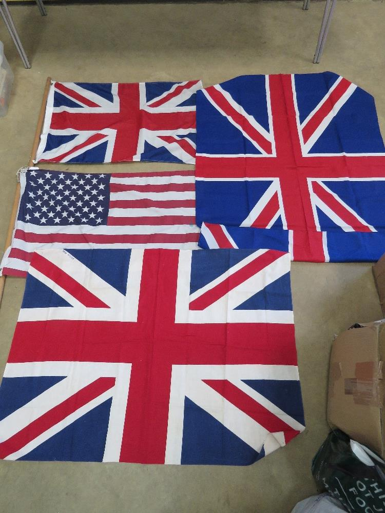 A pair of contemporary flags being Union Jack and US flag, each measuring approx 88 x 57cm.