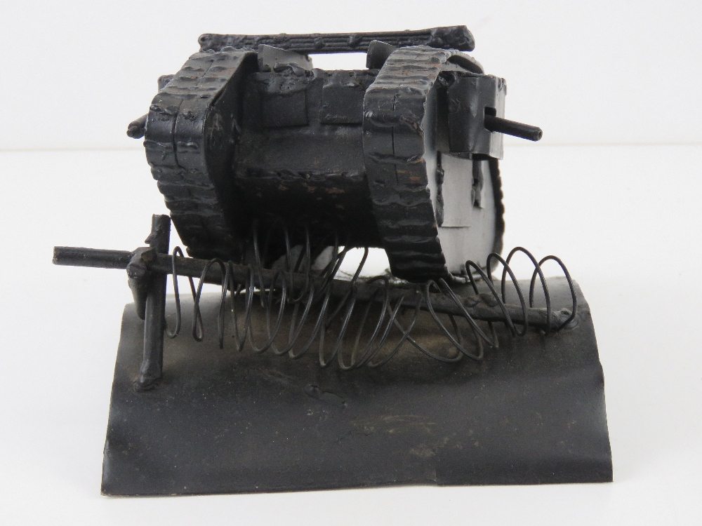 A contemporary metal model of a tank, 22 x 15 x 13cm. - Image 4 of 4