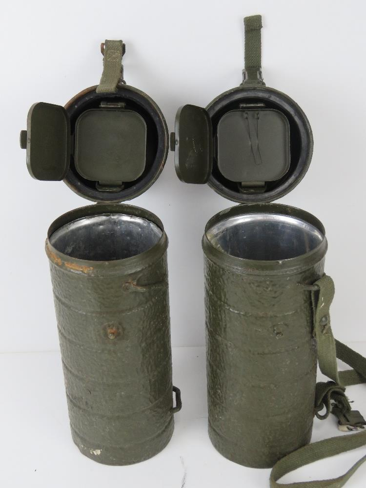 Two WWII German cylindrical mess tins, one with canvas carry strap. - Image 2 of 2