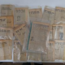A quantity of SEAC newspaper articles (a services newspaper of South East Asia Command), c1944-1945.
