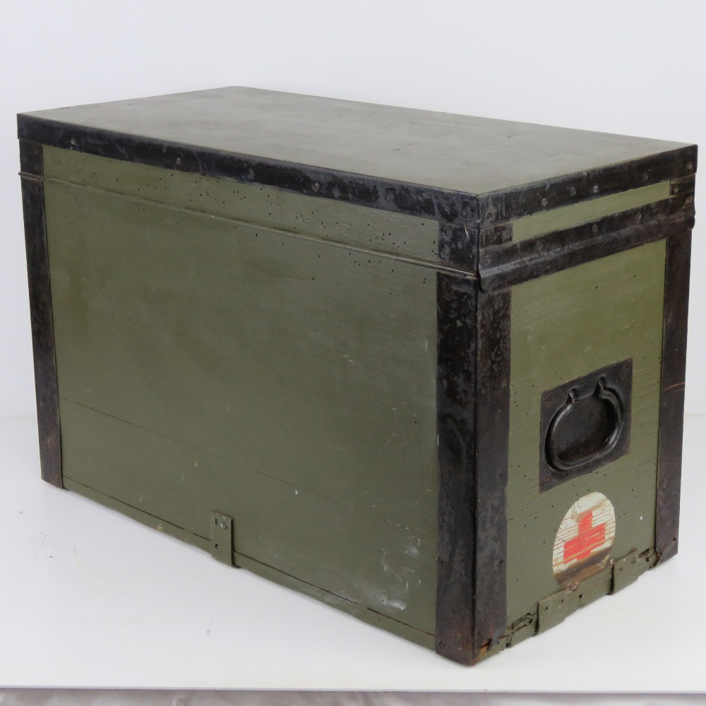 A WWII German Red Cross wooden transit case having metal end handles and bearing label Bartsch - Image 4 of 6
