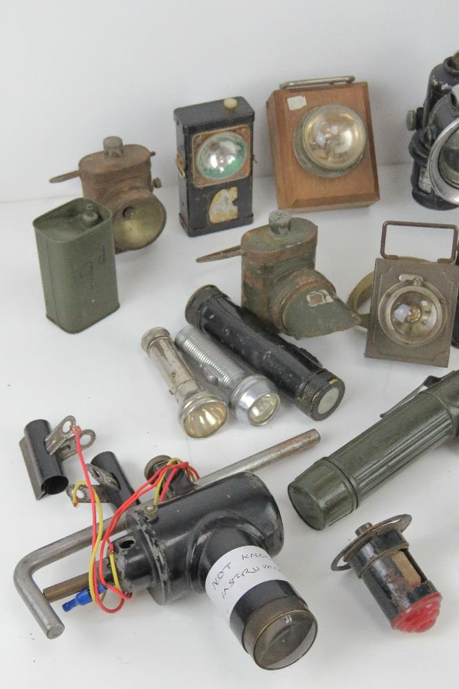 A large quantity of assorted lamps and torches inc bike lamps, Air Ministry signal lamp, - Image 4 of 19