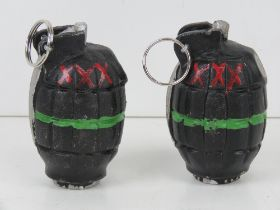 Two inert reproduction Mills grenades wi