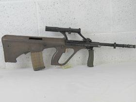 A deactivated Steyr AUG 5.56mm assault r
