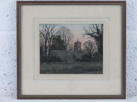 David Barthorpe, watercolour study entitled 'Evening (at) Upton Church, Northampton' (St
