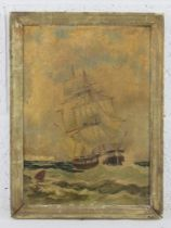Unknown artist, oil on canvas, maritime painting of a masted sailing ship in stormy waters, sea