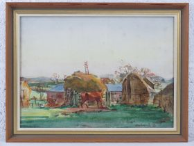 GHB (George) Holland (1901-1987), watercolour, study of a rural farm scene, cow before, hay rick and