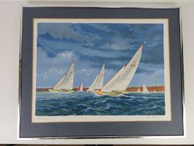 Signed artist proof print, sailing boats with cliff line and sky beyond, signed in pencil lower