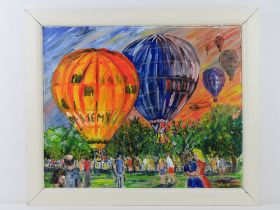 Oil and acrylic by Martino being an abstract hot air balloon scene with crowd below 55 x 45cm,