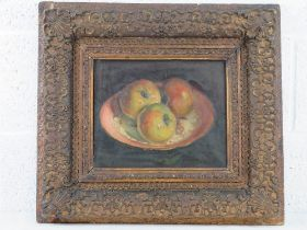 GHB (George) Holland (1901-1987), oil on canvas, still life study of three apples within a saucer