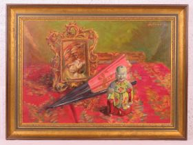 GHB (George) Holland (1901-1987), oil on board, entitled 'Man and Superman' depicting a framed