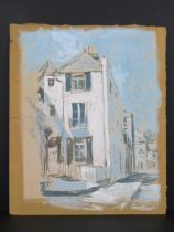 Pastel and watercolour on board, a naive study of a three story house in shades of blue, signed