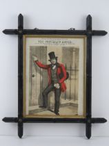 A framed theatre flyer being coloured steel engraving 'The Postman's Knock' sung at the Theatre