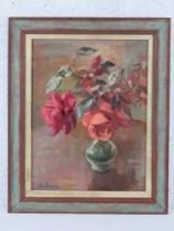 GHB (George) Holland (1901-1987), oil on board, still life study of roses within a glass baluster