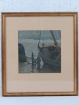 Albert Stafford, oil on canvas under glass, signed and dated 1922, a beached boat at low tide,