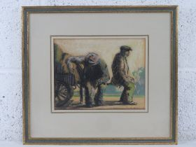 GHB (George) Holland (1901-1987), charcoal and pastel on paper depicting two capped and seated