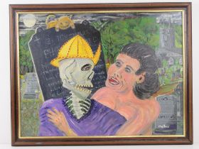 Abstract acrylic by Martino titled 'A Village in Wooing' featuring a woman and skeleton in embrace