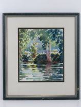 Bridget Woods, watercolour 'Jonquil' river with trees and cattle beyond, 25 x 21cm, framed and