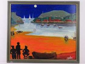 Oil and acrylic by Martino entitled 'Terrors come in Trios' harbour scene in moonlight with