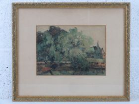 Unknown artist, watercolour, study of trees, river before, buildings beyond, unsigned, framed,