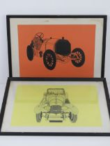 A pair of pen and ink drawings of vintage motor cars, one being a Bentley, each 42 x 30cm, framed