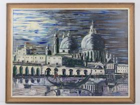 Oil and acrylic by Martino being a Venetian canal scene in moonlight having gondolier with domed