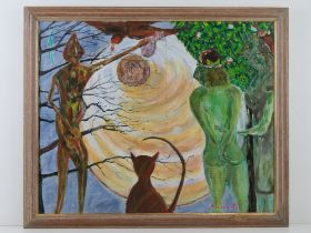 Acrylic by Martino entitled 'Past Perfect', being abstract of two nude green females with central