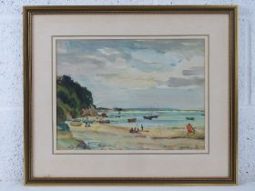 GHB (George) Holland (1901-1987), watercolour, unknown beach believed to be Studland Bay, sand
