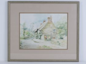 Watercolour; 'The Old Post Office, Lyndon, Rutland', country lane with thatched cottage, trees and