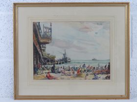 GHB (George) Holland (1901-1987), watercolour entitled verso 'Bournemouth' and depicting deck chairs