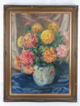 GHB (George) Holland (1901-1987), oil on canvas, still life study of Chrysanthemums, signed upper