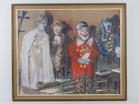 Oil on board entitled 'Remember Joe Grimaldi!' featuring clowns and a robed man by Martin