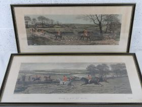 Four hunting themed hand coloured engravings, all in Hogarth frames, painted by E.A.S Douglas,