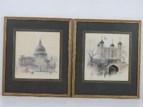 A pair of coloured prints of London being St Paul's Cathedral and Tower of London, each 22 x 21cm,