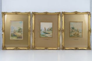 A set of three watercolours by Claude Wane, entitled 'Fisherman's Cottage Anglesey' and Fishermen'