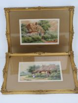 A pair of watercolours by J Hamilton entitled 'Cottage Nr Malpas, Cheshire' and 'Cottage Nr