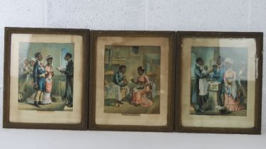 Three coloured lithographic prints harcking back to a less politically correct time and entitled '