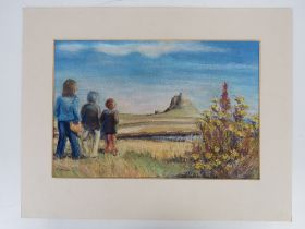 Pastel by J Lawson; three figures with landscape and sky beyond, 35 x 23cm, with mount, unframed.