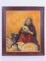 Oil on board; Indian pot maker, signed lower left Janette with inscription verso, sight size 48 x