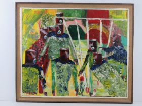 Mixed media by Martino; titled 'A Garden Question' being abstract Cubist influence crowd around a