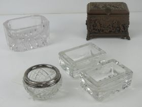 An HM silver and cut glass salt, together with three other salts (2+1) and a lidded relief jewellery
