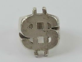 A heavy HM silver Dollar symbol ($) ring, size P, hallmarked for Sheffield, 22.4g