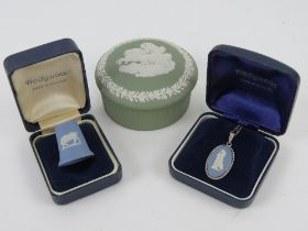 A HM silver and Wedgwood blue Jasperware pendant on silver chain, in original box. Together with a