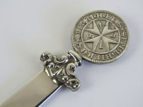 A silver Maltese Cross letter opener or page marker, the blade bearing 925 hallmark, the terminal