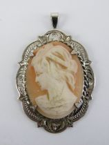 A HM silver pendant having carved shell female cameo portrait upon, 4cm inc bale.