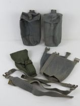 Four WWII RAF webbing pouches together with a Browning High Power holster. Five items.